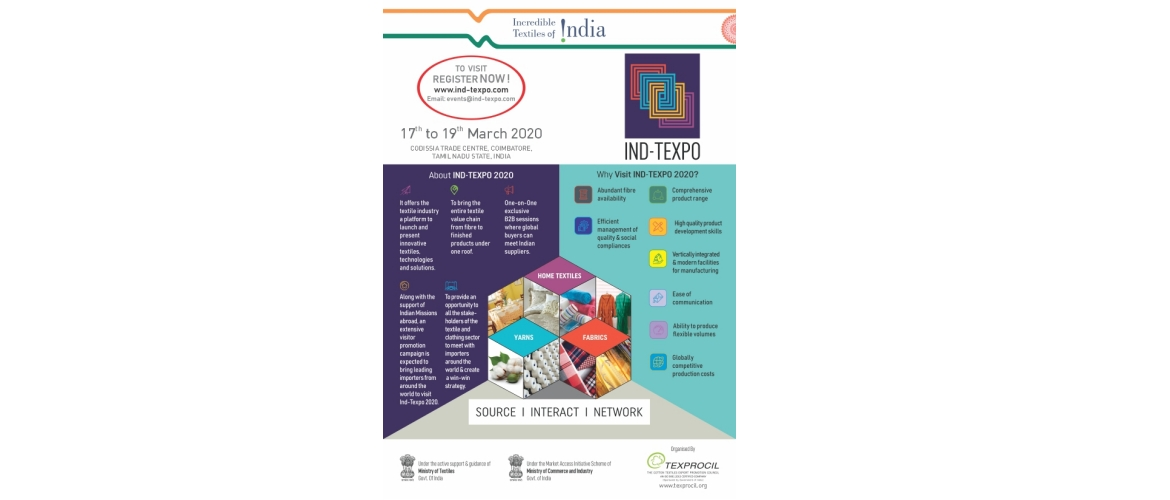 "Ind–Texpo 2020"", an exclusive B2B exhibition of cotton textiles in India"