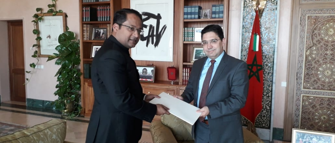 Ambassador Shambhu Kumaran handed over a copy of credentials to H.E. Nasser Bourita, Minister of Foreign Affairs and International Cooperation on 17 July 2019.